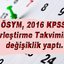 KPSS yerleştirme takvimi güncellendi