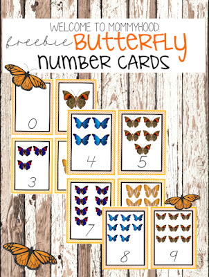 Spring activities: free butterfly number cards by Welcome to Mommyhood #montessori, #montessoriactivities, #springactivities, #preschoolactivities, #toddleractivities,