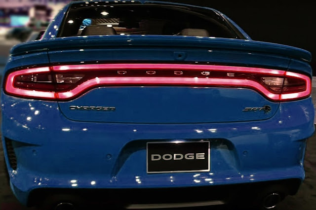 blue dodge charger srt hellcat widebody rear exhaust and taillights