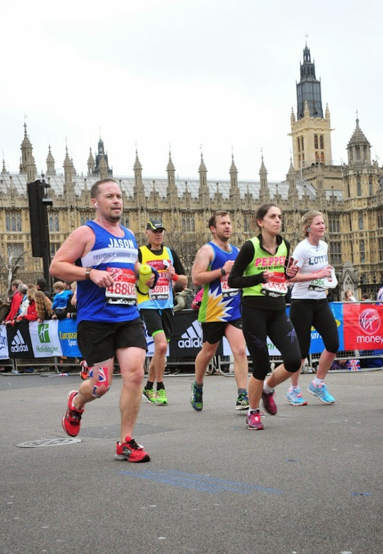 Running past Houses of Parliament 2015 London Marathon