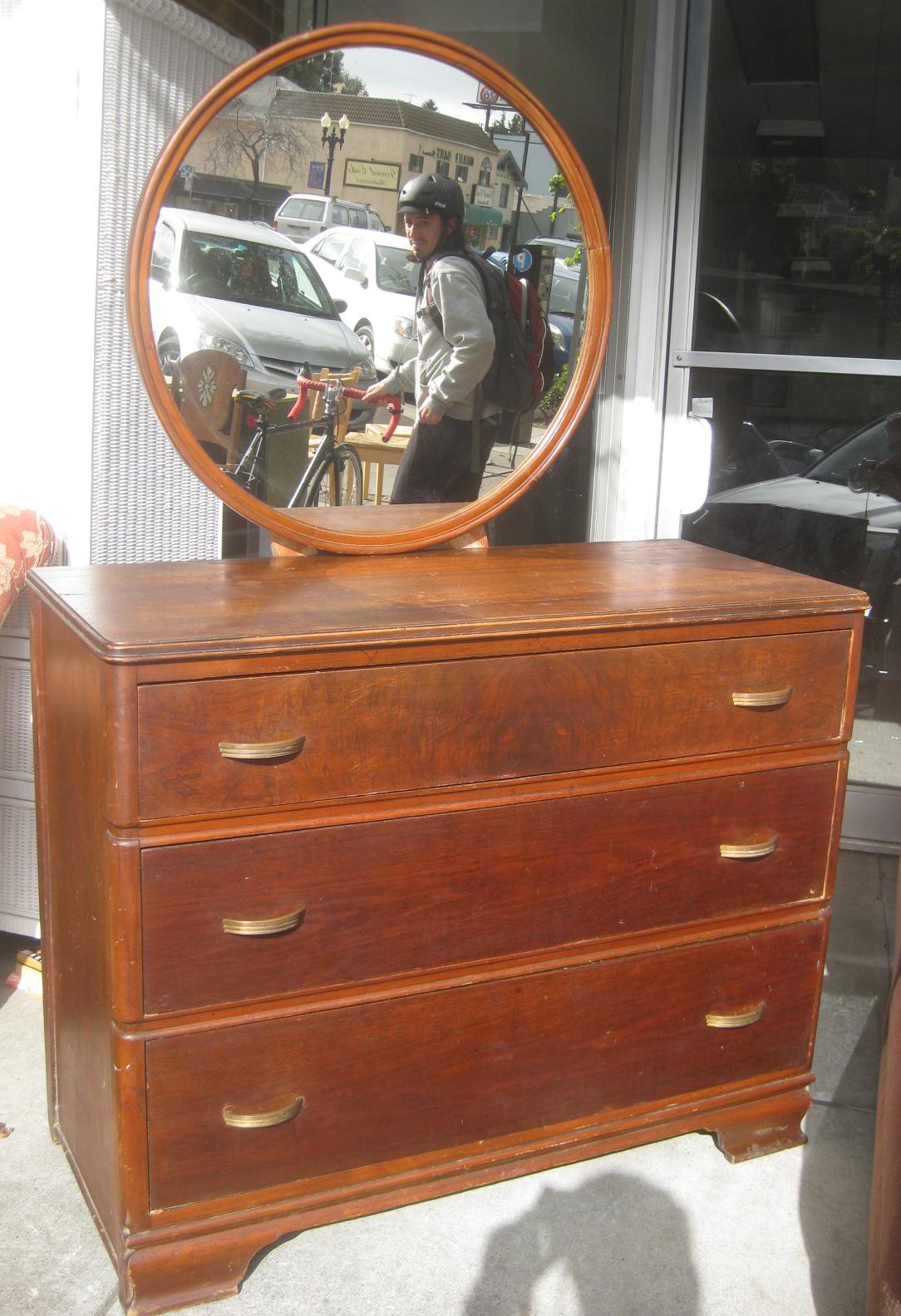 Antique Dresser With Round Mirror Black Headboards For Queen Beds