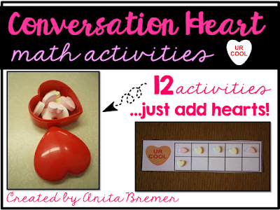 Valentine's Day math activity centers featuring 12 math skills, just add conversation hearts!