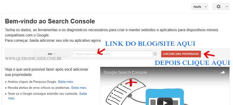 Criar uma conta no Google Webmasters Tools