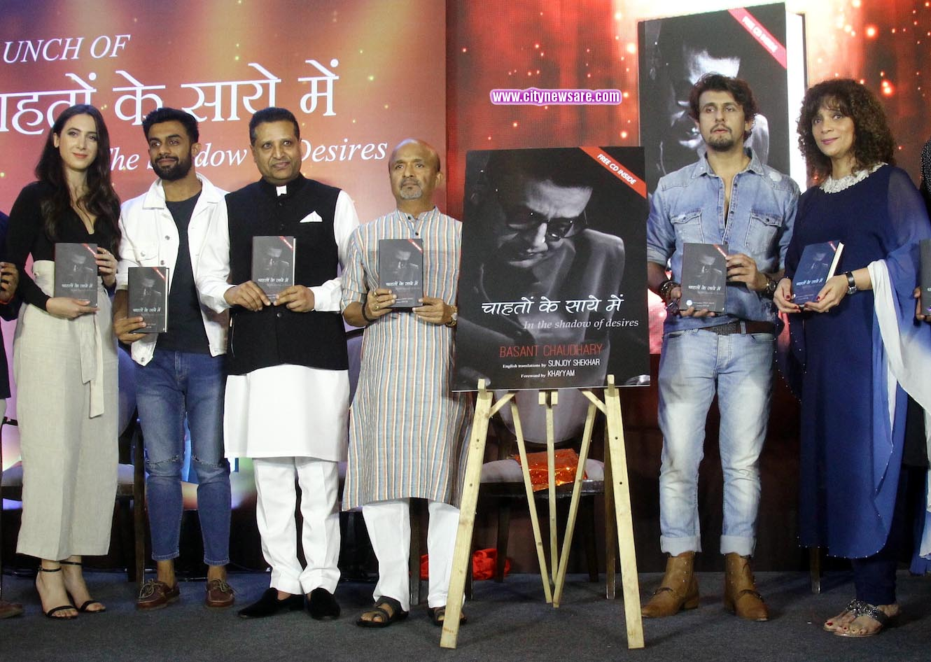 From left Suelen Oliveira, Vishwas Kini, Basant Chaudhary, Sameer, Sonu NIgam and Penaz Masani