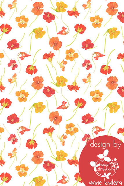 fabric design, repeat patterns, nasturtiums, watercolor, Anne Butera, My Giant Strawberry