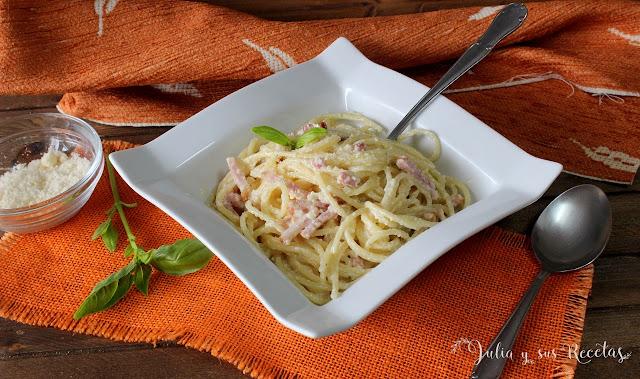Espaguetis a la carbonara. Julia y sus recetas