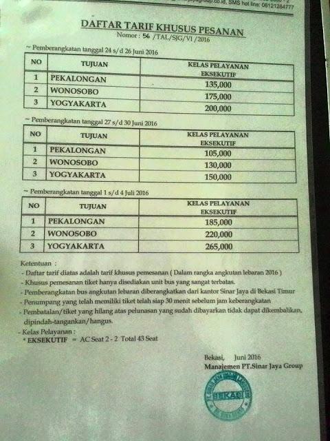Tarif Lebaran Bus Sinar Jaya Tahun 2016 1437 H Khusus Pesanan