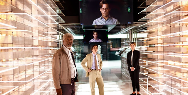 Morgan Freeman, Rebecca Hall, Cillian Murphy şi Johnny Depp în Transcendence