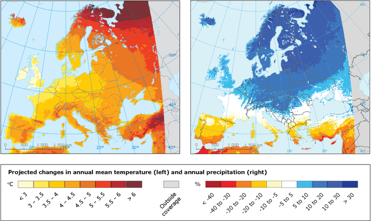 Projected changes in annual mean temperature and annual precipitation in Europe for 2100