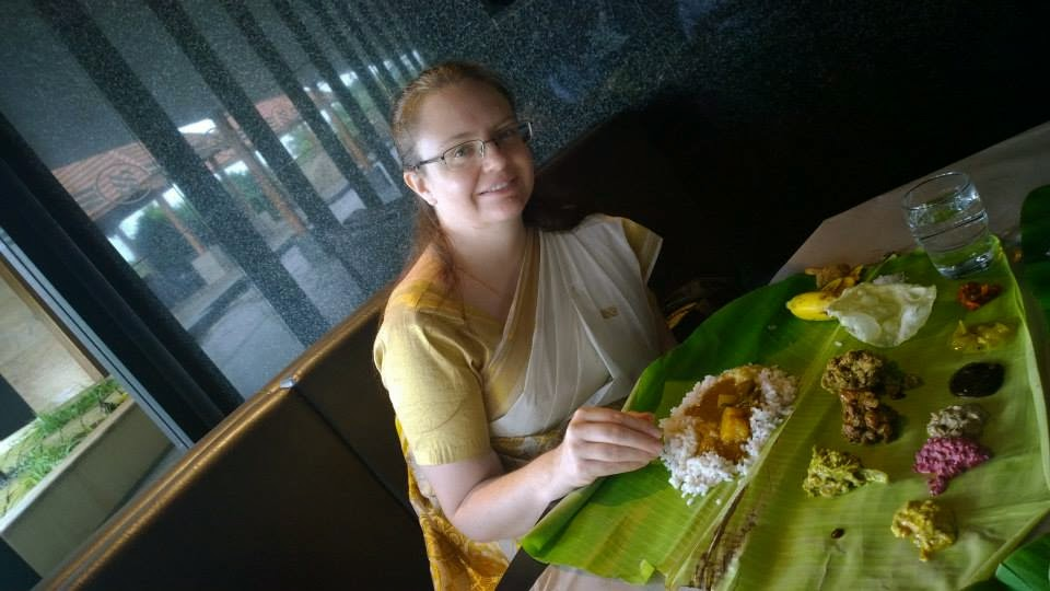 Eating a Kerala meal with your hands in India