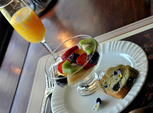 Fresh Orange Juice, Fruit Salad, and Blueberry Coffee Cake at Beazley House - Napa, CA | Taste As You Go