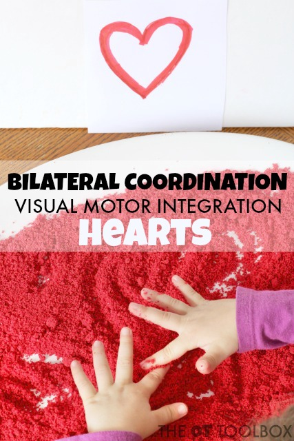 Bilateral coordination activity with a heart theme for Valentines Day