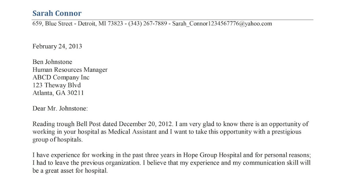cover letter for medical assistant resume In the same way that you might reference resume samples, the following medical  assistant cover letter example will help you to write a cover letter that best.