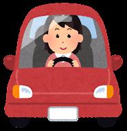運転している女性のイラスト(笑顔)
