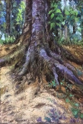 Corrections made on a soft pastel painting of tree roots by Manju Panchal