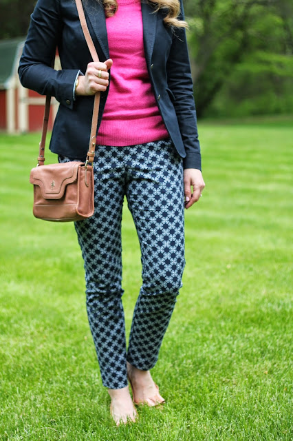 pink sweater, navy blazer, blue printed ankle pants, bow flats, cole haan bag
