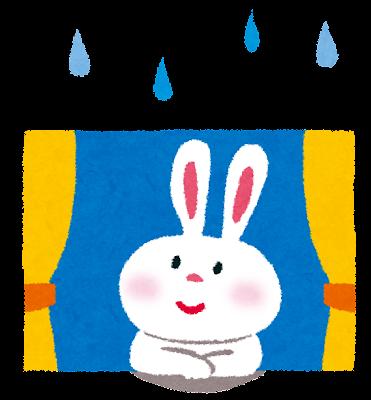 梅雨のイラスト「窓際のウサギ」