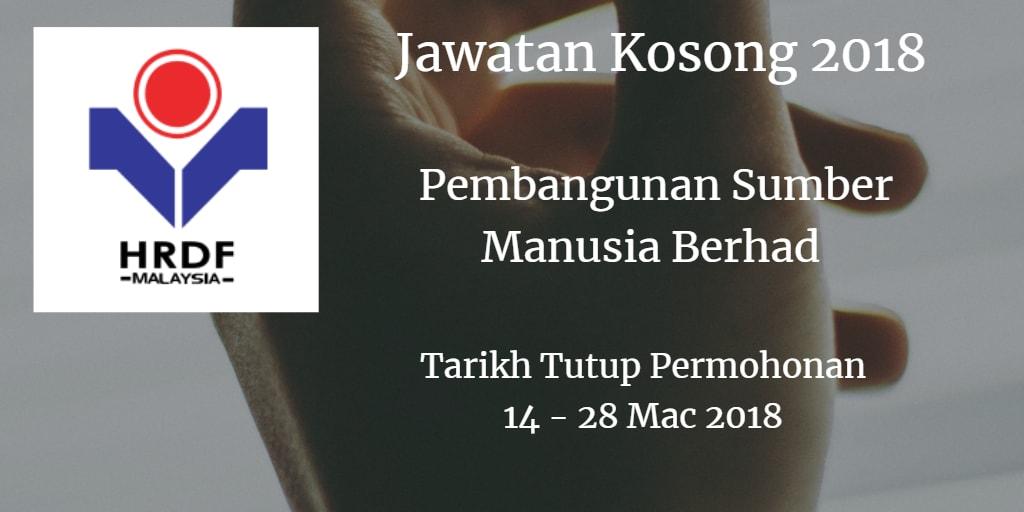 Jawatan Kosong Pembangunan Sumber Manusia Berhad 14 - 28 Mac 2018