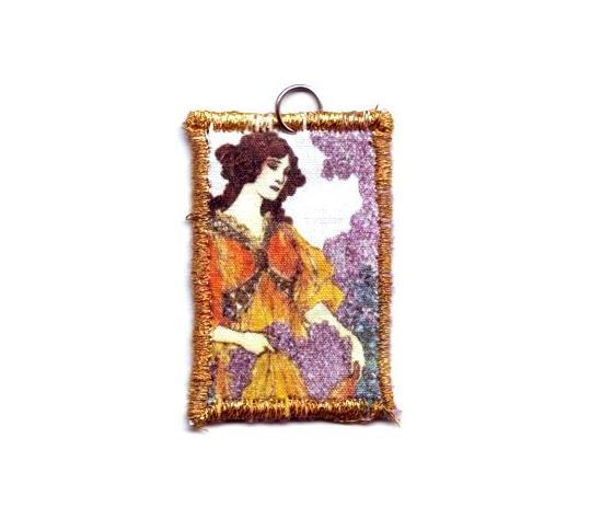 Art Nouveau Woman Fabric Pendant