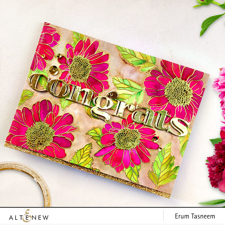 Altenew Inline Alpha Die, Spring Daisy stamp set watercolored by @pr0digy0