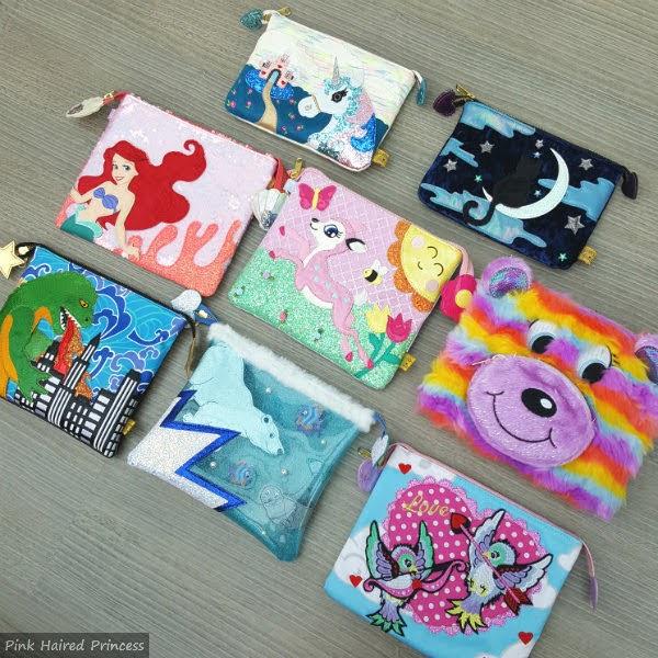 colourful irregular choice zipped pouches flatlay