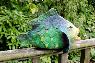 Fantasy Fish, wet felting, hand felted fish