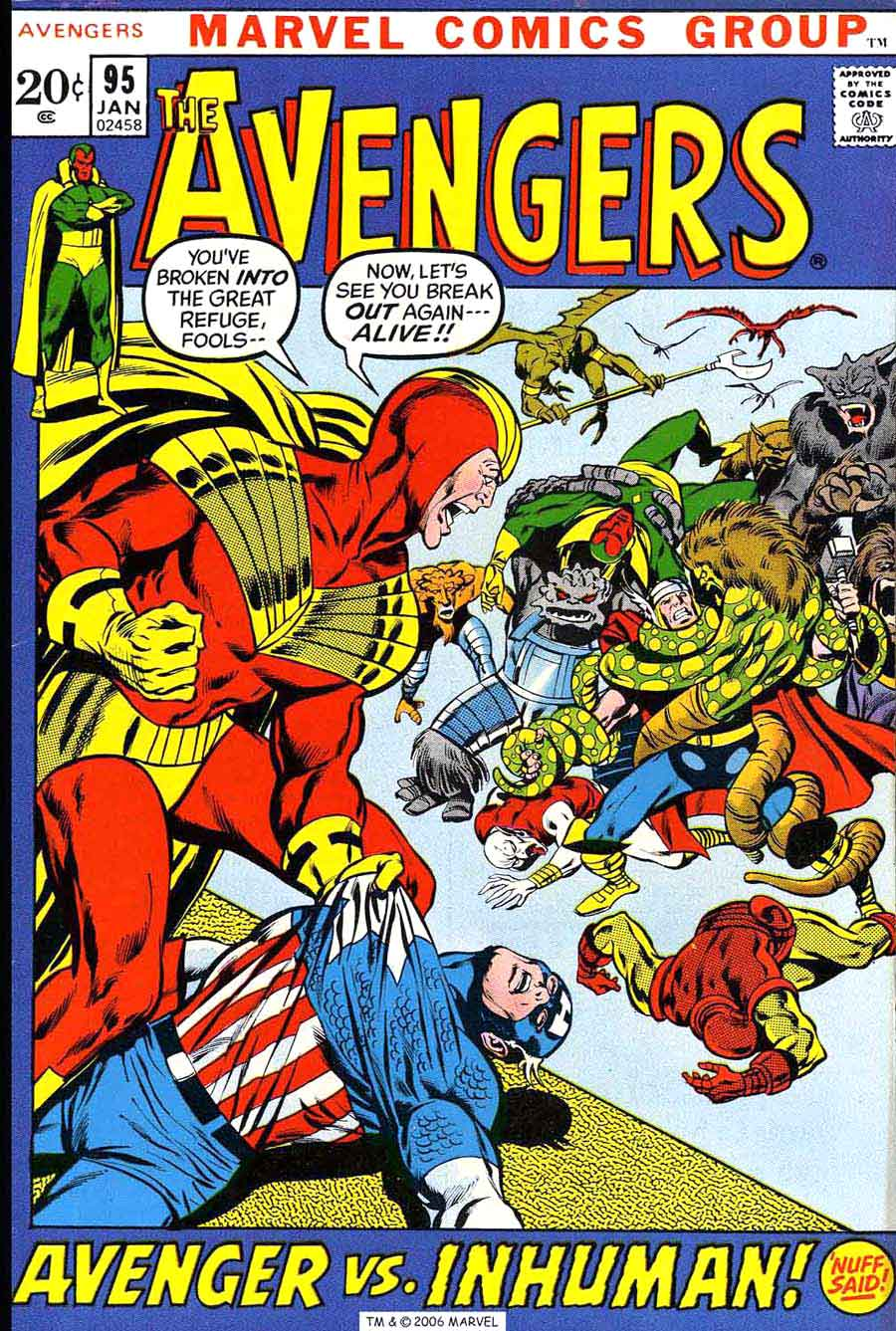 Avengers v1 #95 marvel comic book cover art