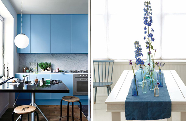 Tendenze arredare con il blu Niagara cucina