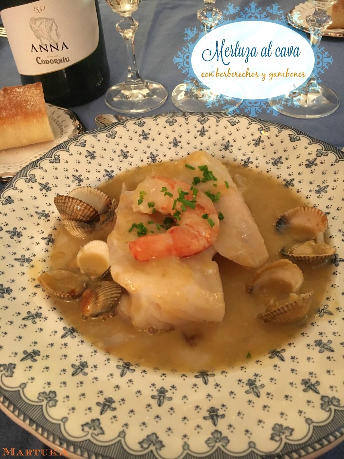 Las recetas de martuka merluza al cava con berberechos y - Como cocinar berberechos ...