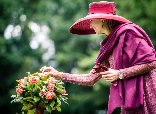 Queen Maxima presents a new rose during the Dutch Rose Association's National Symposium at the Rosarium in Winschoten