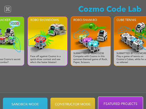 Cozmo code lab in app