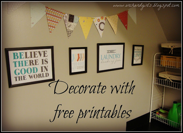 Decorating with Printables - Free Laundry Room Printables