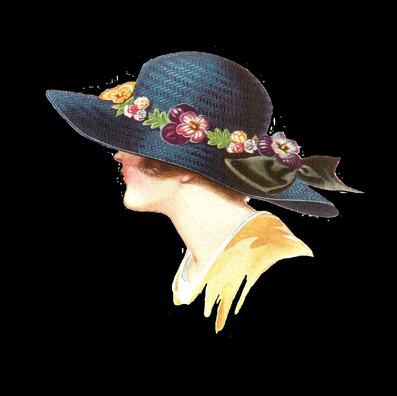 Antique Images: Free Fashion Clip Art: 1915 Women's Spring ...  |Vintage Hat Art