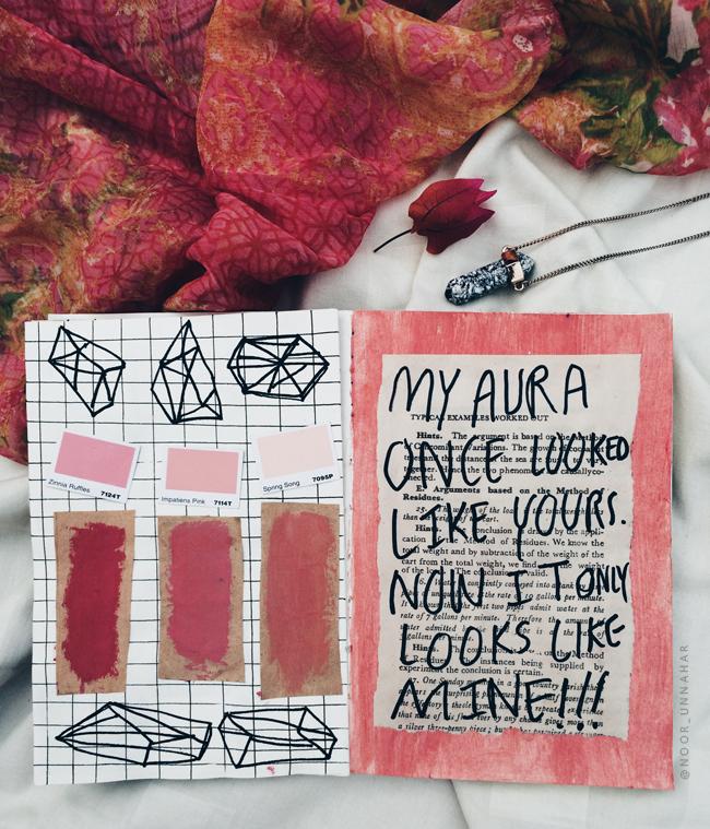art journal noor unnahar tumblr aesthetics flatlay