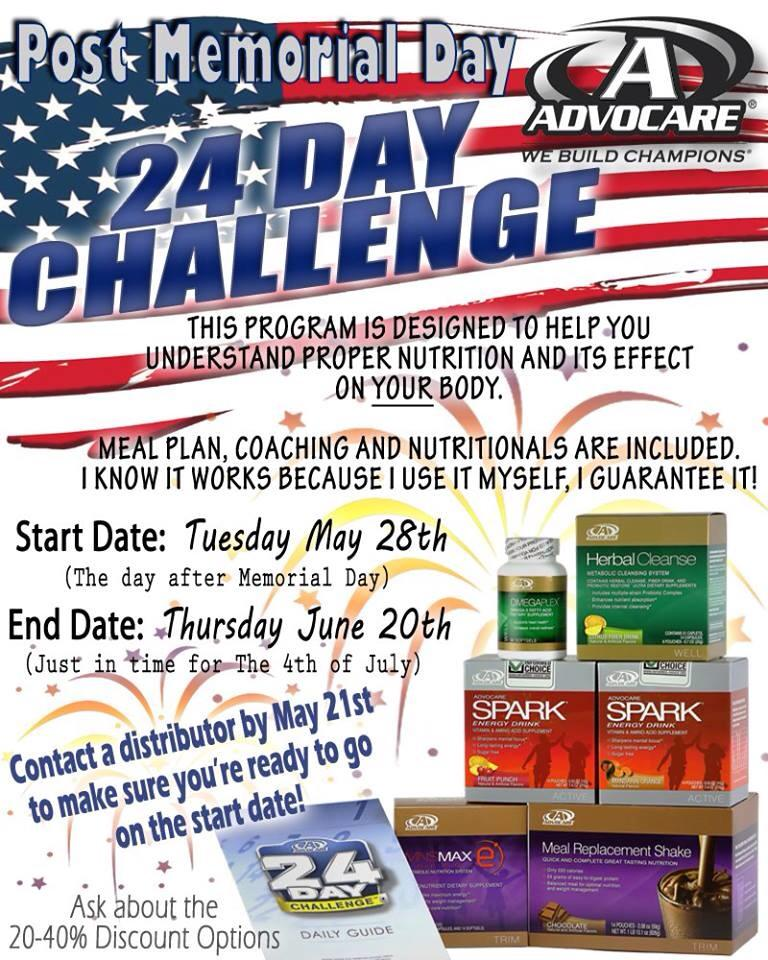Post Memorial Day Advocare 24 Day Challenge - Fit and Healthy with - 24 day challenge guide