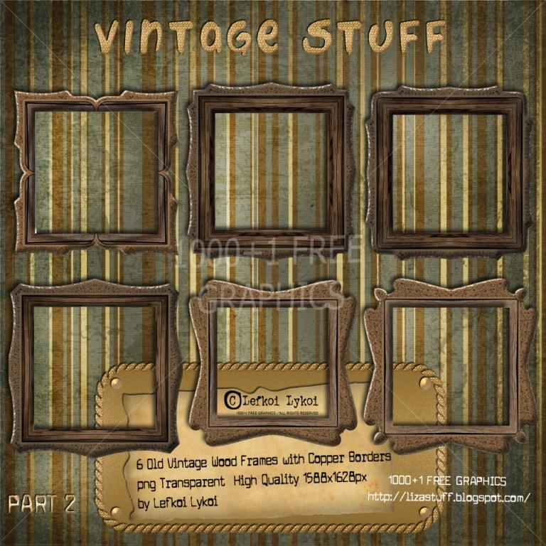 6 Old Vintage Wood Frame with Copper Borders png Transparent High ...