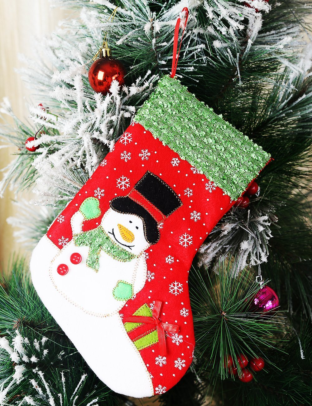 head over to amazon and save an extra 75 off on this snowman design christmas stockings pay only 1 when you use promo code w4q7zg7x at checkout - Amazon Christmas Stockings