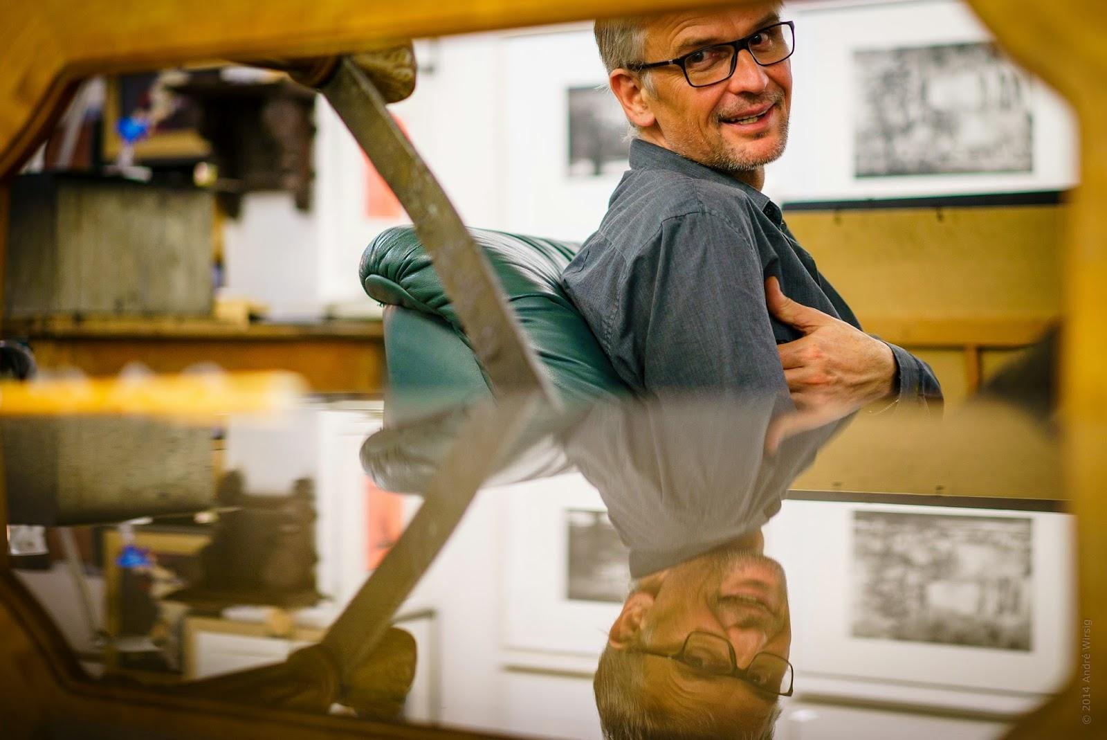 """Markus Retzlaff in seinem Atelier """"Oberlicht"""" in Altkötzschenbroda. Foto: André Wirsig"""