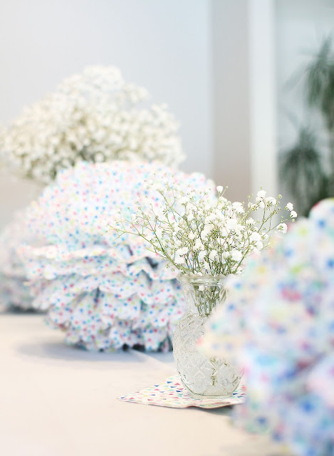 Pom Poms, Gypsophilia, Baby's breath, flowers, table decorations, target, fbloggers, pregnancy blog, Baby shower