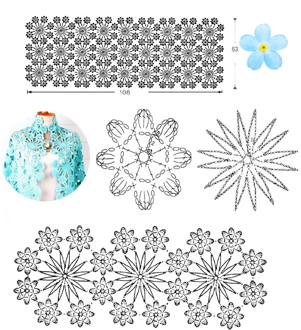 chal, composición crochet, motivos florales, patrones ganchillo