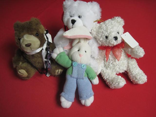 Thrift Store stuffed animals for packing in Operation Christmas Child shoeboxes.