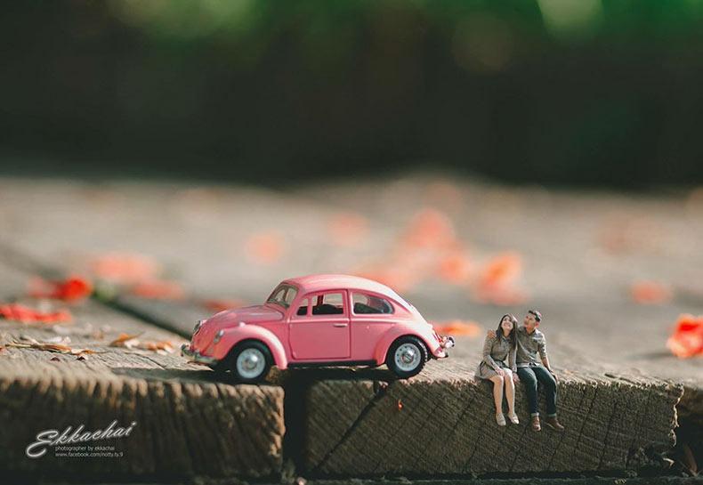 Fotógrafo de boda Tailandés pone a los recién casados en el interior de los mundos en miniatura