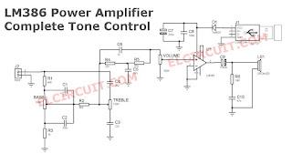 LM386 Power Amplifier Circuit USB Voltage input + tone control