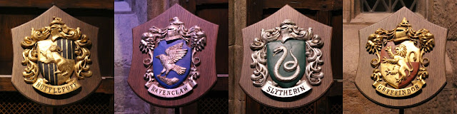 A picture of Hogwarts house shields