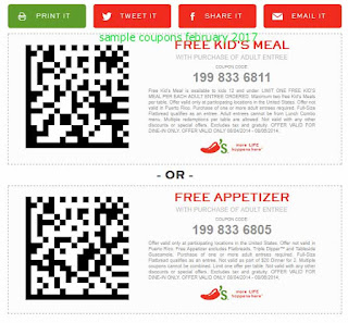 free Chili's coupons february 2017