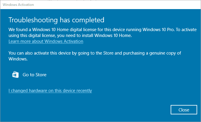 Notifica Windows 10 Pro problemi di attivazione