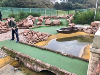 Richard Gottfried playing minigolf at Championship Adventure Golf in New Brighton. Photo by Jon Angel, 27th September 2017