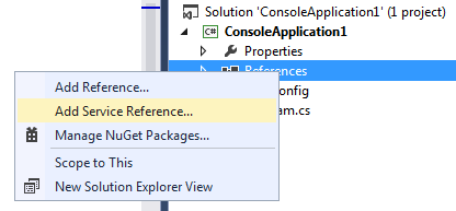 Adding service reference to .net application