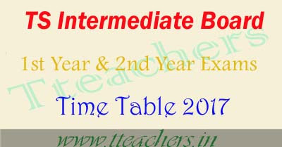 TS Board of Intermediate time table 2017 ipe exam dates in telangana