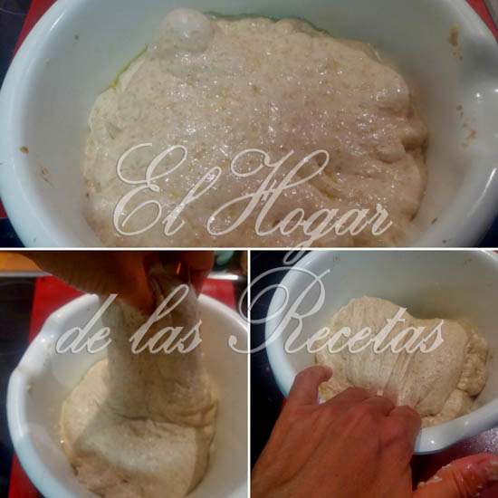 Pan Integral de Espelta: Después de cada reposo de 30 minutos, hacemos 4 pliegues a la masa